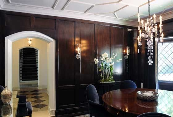 tudor style interiors | Tudor Revival- dramatic, elegant dining room