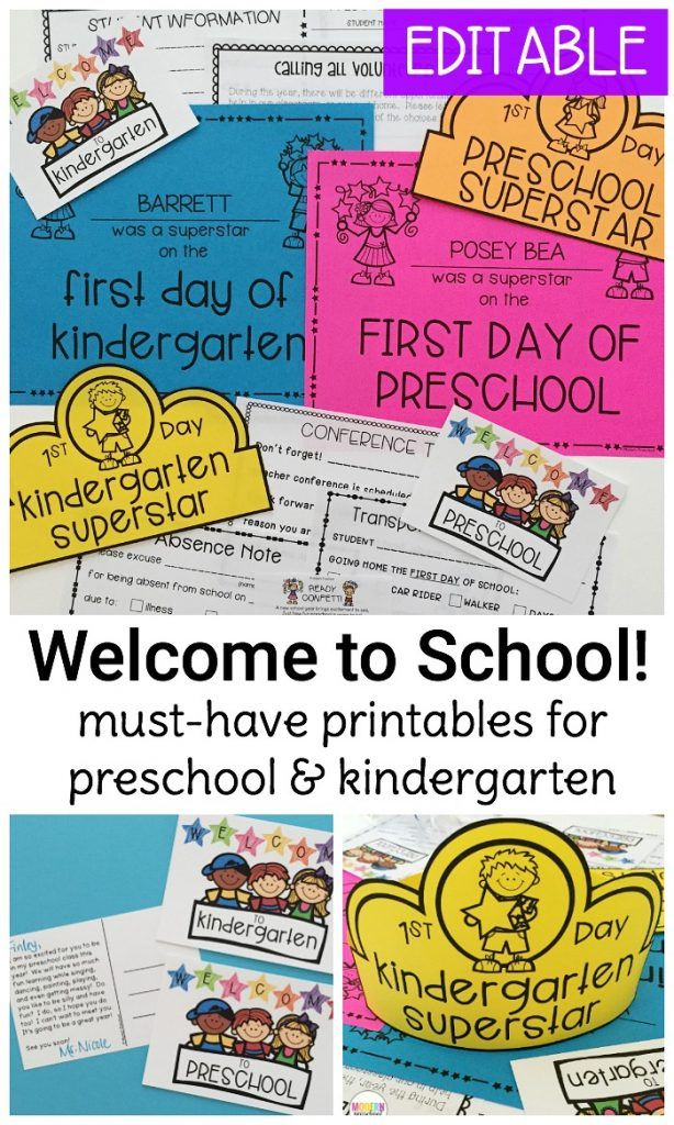 Welcome to School Pack for Preschool  Kindergarten Kindergarten - absence note