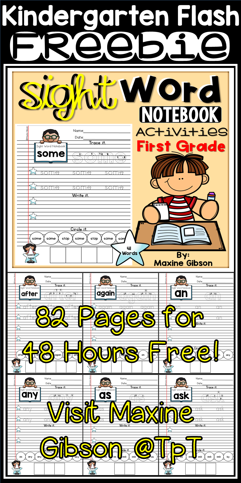 Sight Word Notebook Activities First Grade | TpT FREE LESSONS ...