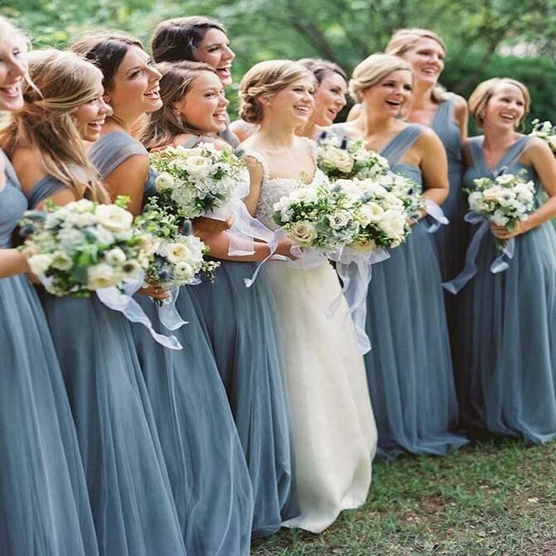 Blue Cross Neck A-Line Tulle Bridesmaid Dresses With Bow