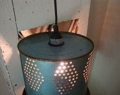 Upcycled tin hanging light - old minnow bucket!