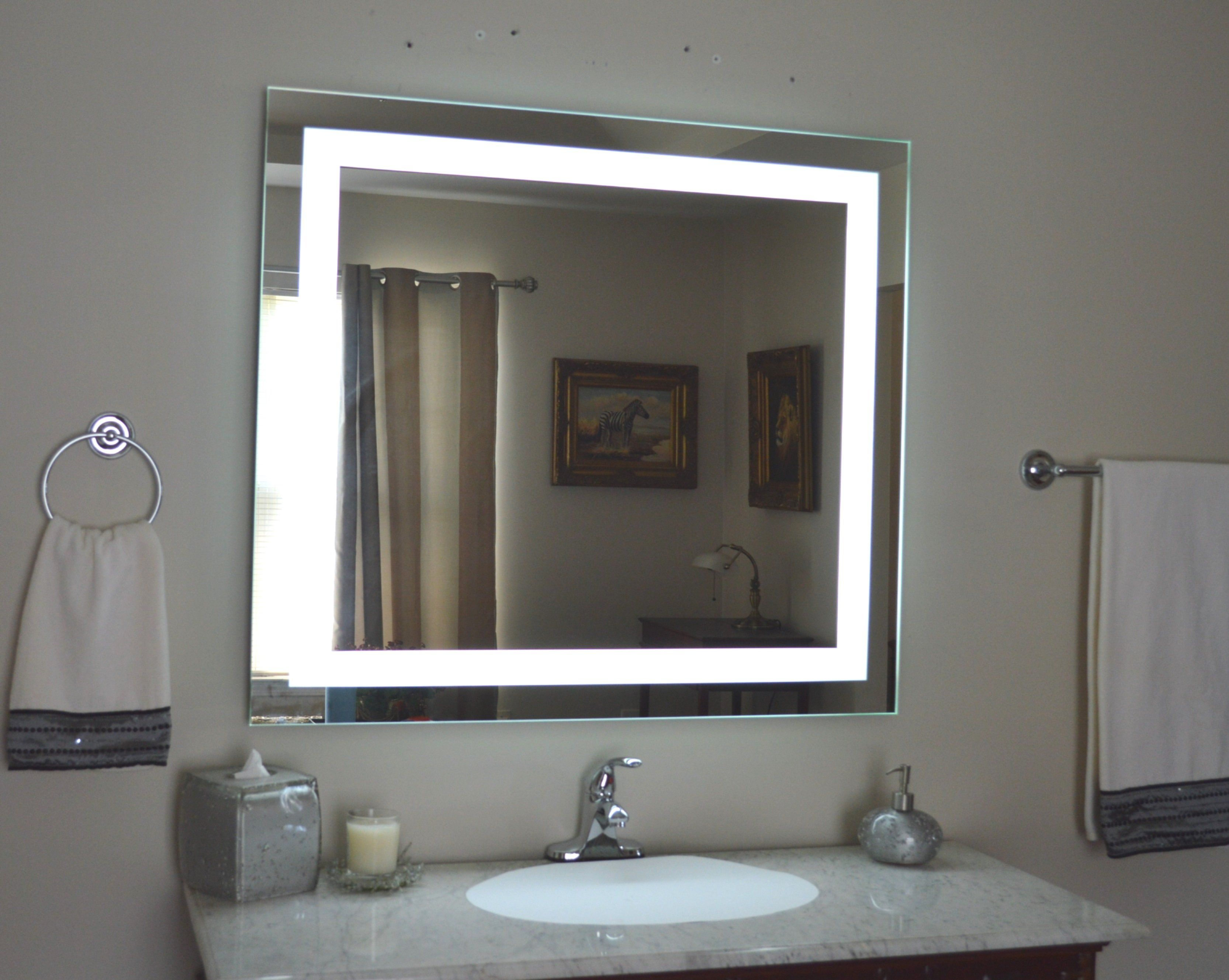 Front Lighted Led Bathroom Vanity Mirror 40 X 36 Rectangular