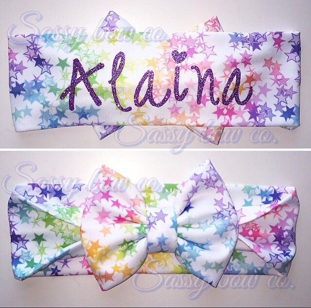 Personalized Bow Wraps from #SassyBowCo #Personalized #Star #headband