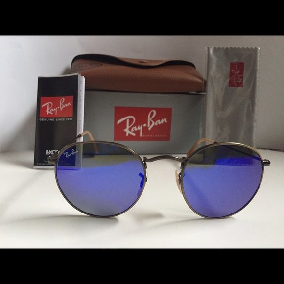 5c6c9a14d4d Ray ban Round 3447 with flash blue lense Brand  Ray-Ban Model  RB 3447  Name  Round Flash Color Code  167 68 Style  Round   Retro Frame Color   Bronze ...