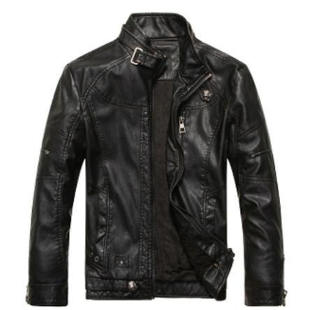 Men's Zip Front Faux Leather Jacket 4