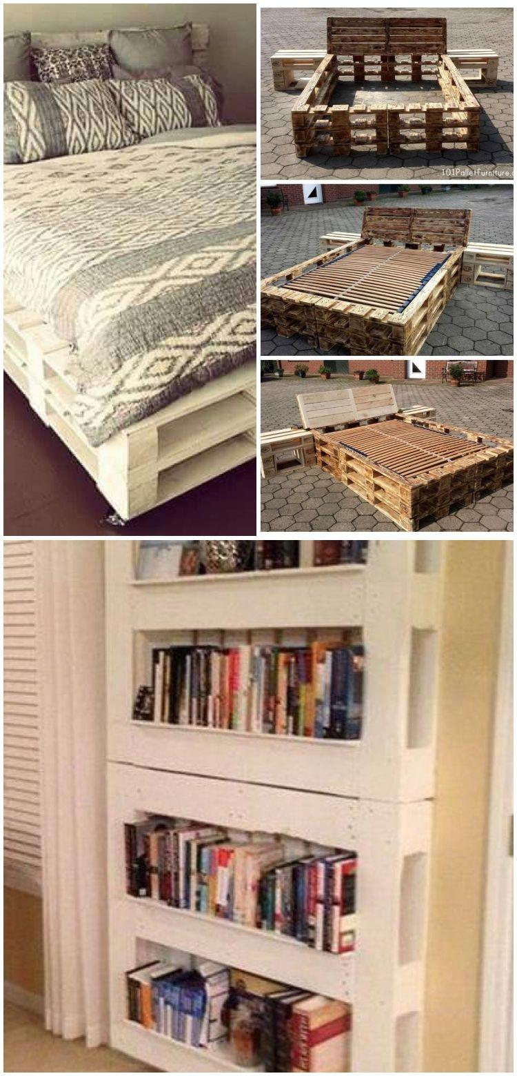 Diy Pallet Bed Frame Mit Nachttischen Bed Diy Frame Furniture Nightstands Diy Palettenbettgestell Mit Nachttischen Bett Diy Pallet Bed Diy Bed Frame Diy Bed