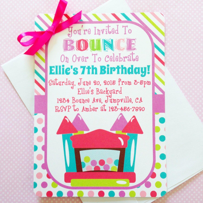 printable bounce house birthday invitation, printable bounce house ...