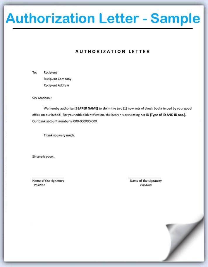 authorization letter sample interestingpage samples templates - sample bank authorization letter