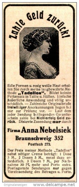 Original-Werbung/Anzeige 1916 - KOSMETIK NEBELSIEK BRAUNSCHWEIG - ca. 45 x 110  mm