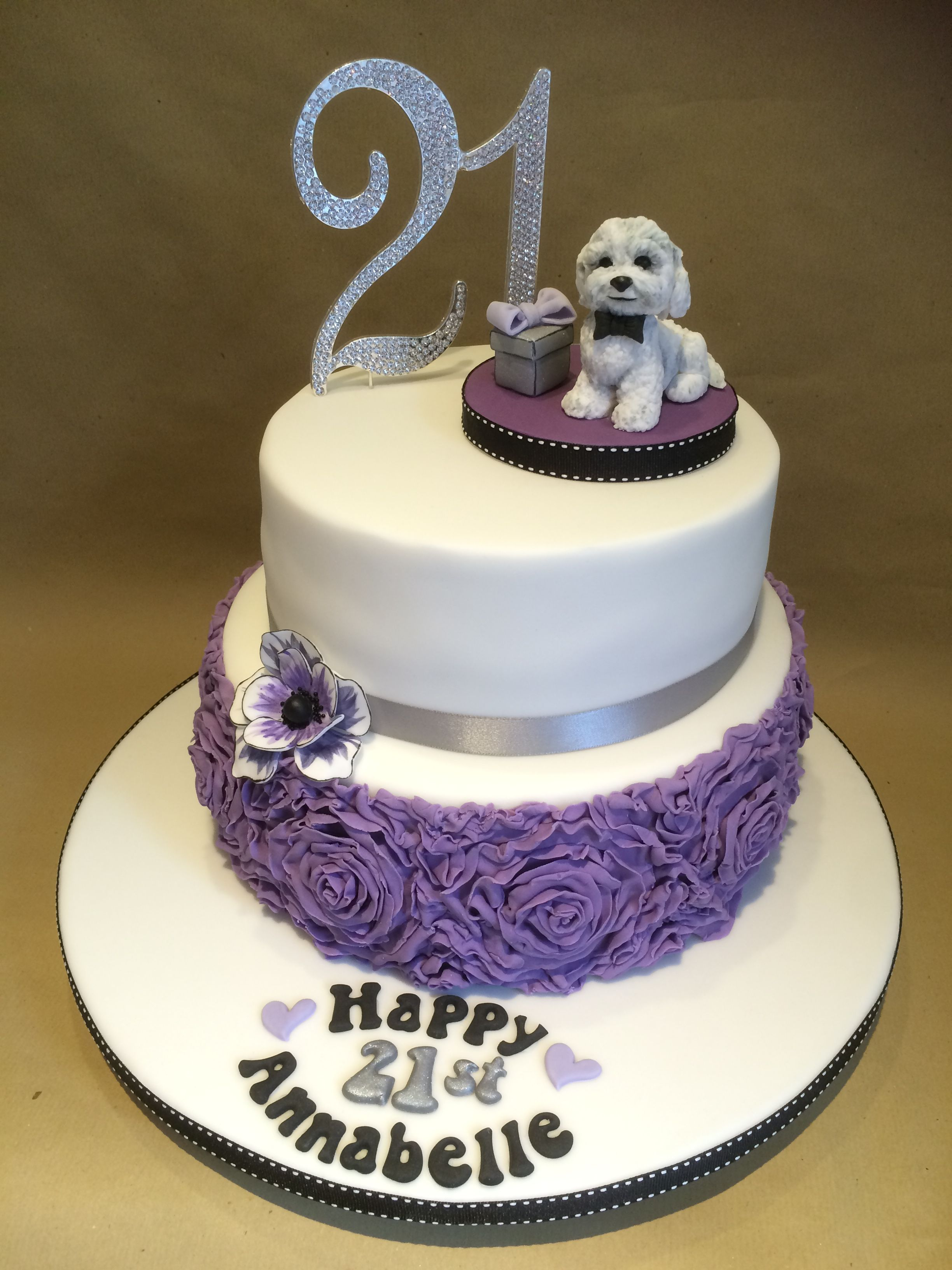 Dog Roses 21st Birthday Cake Purple Black Silver And White Colours