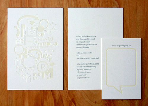 monochromatic letterpress invitations.