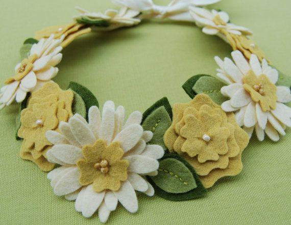 Flower Crown Hair Wreath Headband  - Wool Felt Flowers - Ivory & Gold Daisies with Leaves.