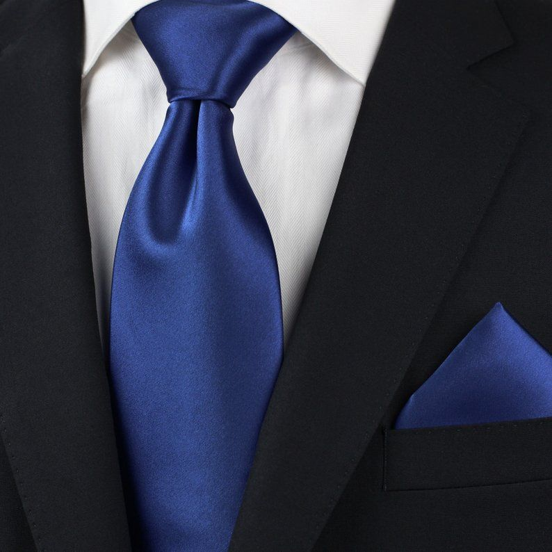 Men/'s Solid Navy Blue Big /& Tall Extra Long Necktie and Handkerchief for Formal Occasions