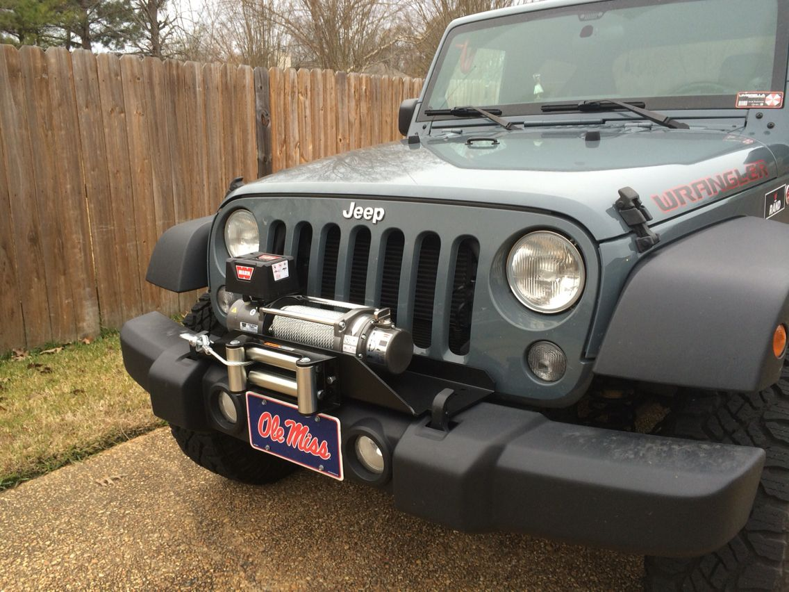 small resolution of warn m8000 winch on rockhard 4x4 mounting plate for wrangler jk factory bumper mounted on my jeep