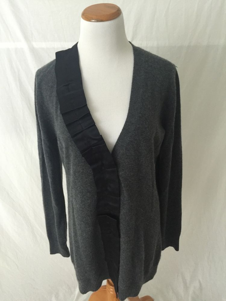 NEIMAN MARCUS gray 100% cashmere long cardigan sweater Women's L ...