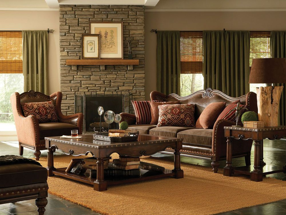CAMBRIDGE VINTAGE LEATHER CHENILLE SOFA COUCH U0026 CHAIR SET LIVING ROOM  FURNITURE #Traditional