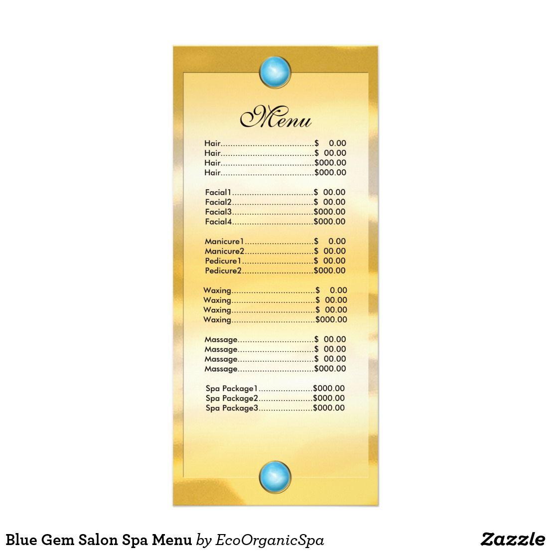 Blue Gem Salon Spa Menu Spa menu, Gem salon, Spa prices