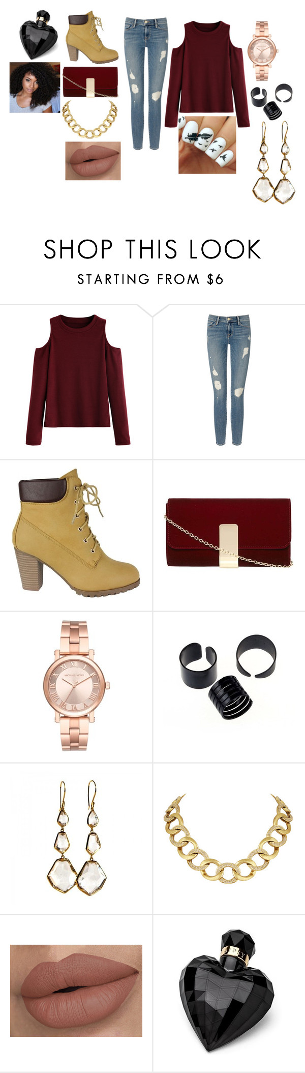"""""""Red Sweater"""" by itsjazzmen ❤ liked on Polyvore featuring Frame Denim, Dorothy Perkins, Michael Kors, Ippolita, House of Harlow 1960 and Lipsy"""