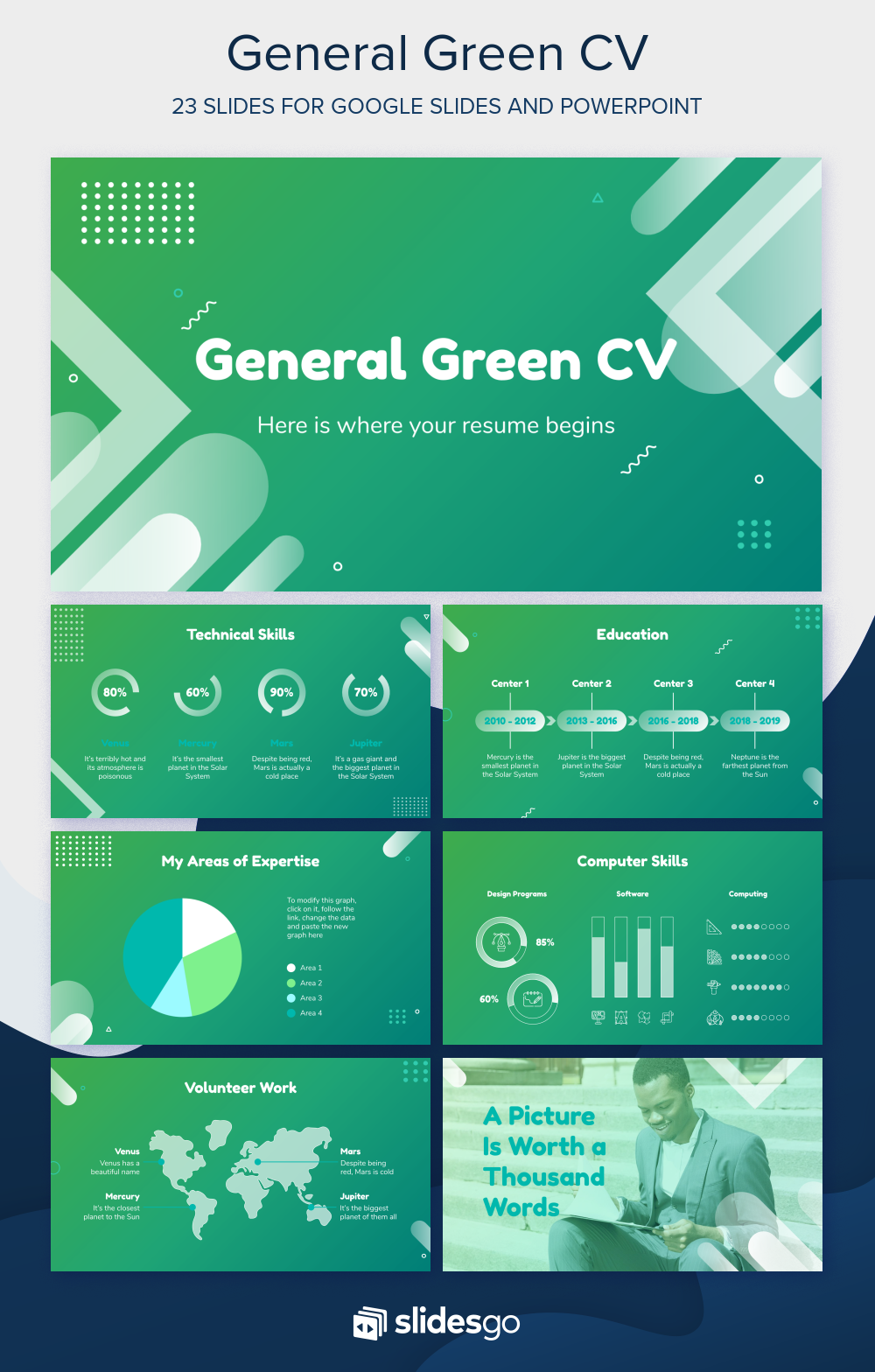 Boost Your Chances With This General Green Cv That Brings Your Resume To Life Works With Google Slides And Powerpoint Powerpoint Google Slides Themes Good Cv