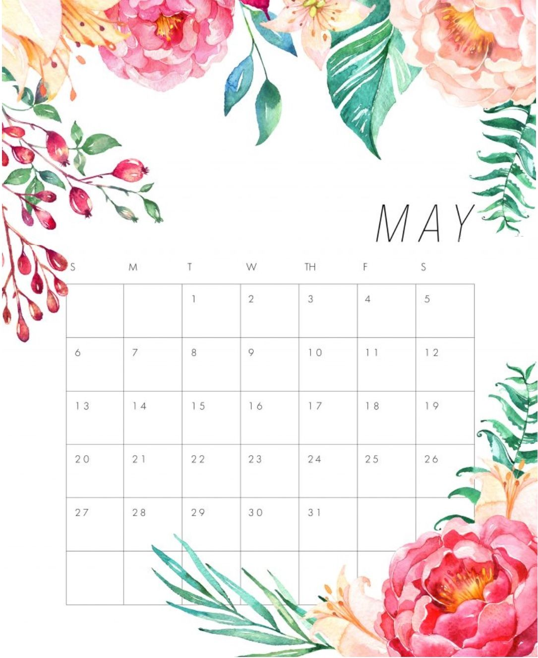 free calendar may 2018