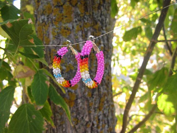 Pink Sunset  Hoop Earrings by Beadsnbeadss on Etsy, $25.00