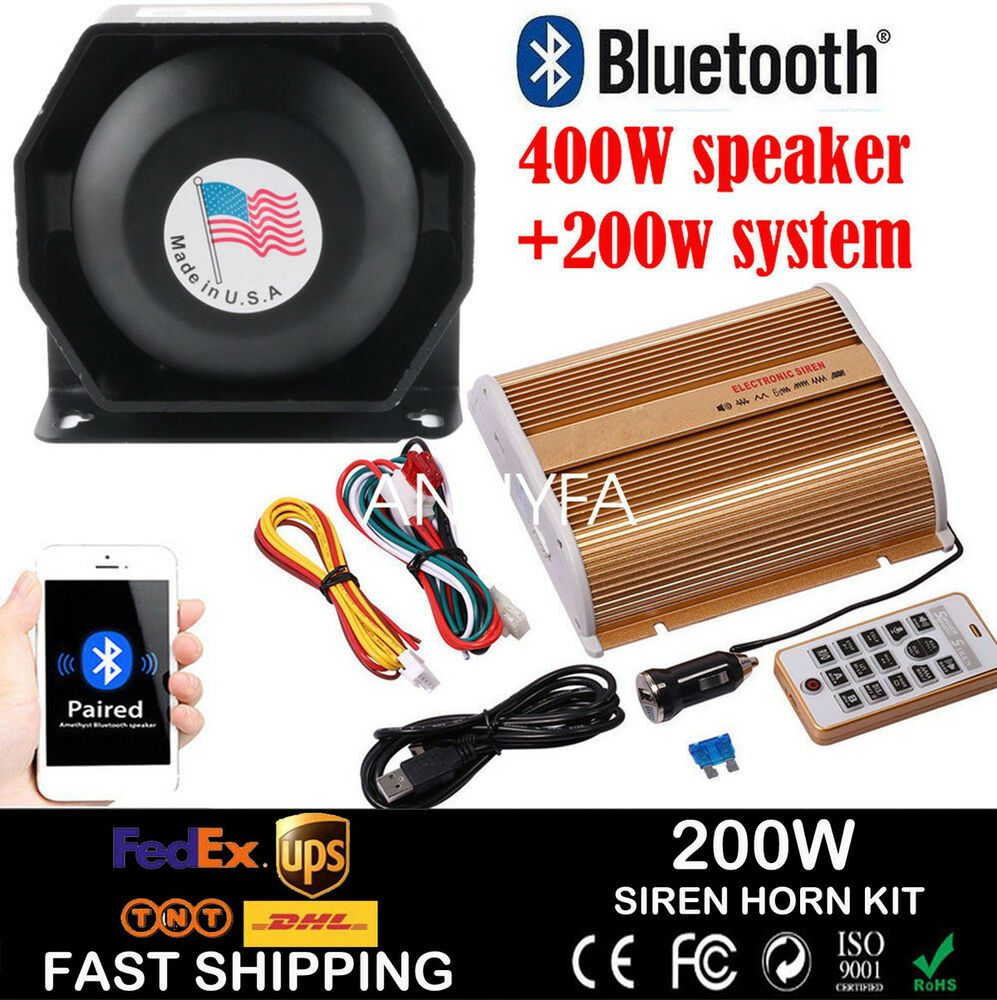 400W New Car Alarm Police Fire Loud Speaker PA Siren Horn System Kit Bluetooth