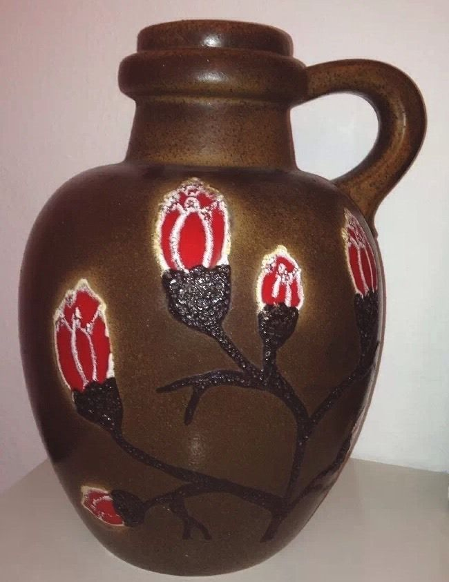 West German Pottery Vase/Bodenvase Scheurich 486 38 Blumen ...