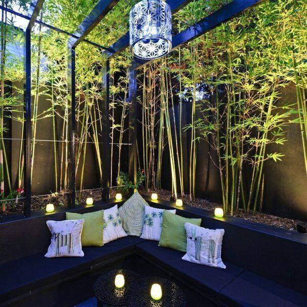 terrasse gestalten dunkle möbel grüne pflanzen wohnen - terrasse gestalten ideen stile