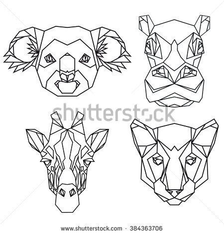 e5836cb75 Geometric vector set of koala, hippo, puma, giraffe vector animal heads  drawn in line or triangle style, suitable for modern tattoo templates,  icons or logo ...