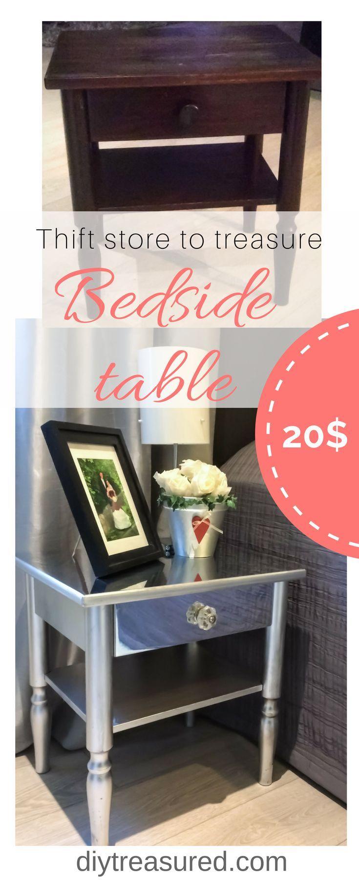 Bedside table makeover Bedroom furniture makeover, Diy
