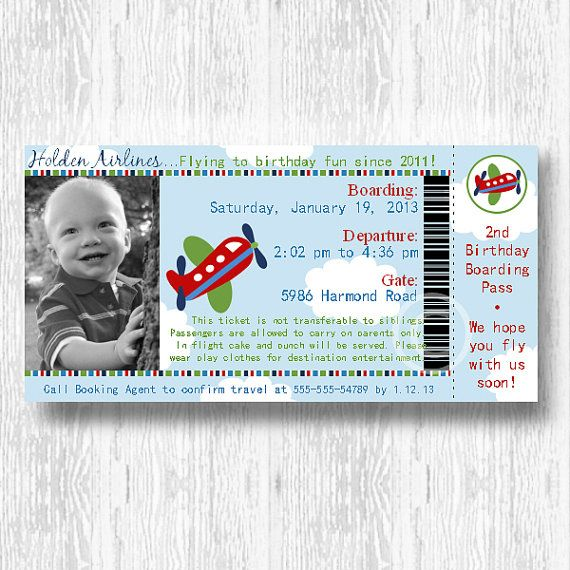 Airplane Ticket Invitation For Birthday Party Or By Beeanddaisy
