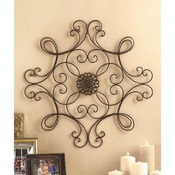 Square Scrolled Metal Wall Medallion Decor Home Kitchen