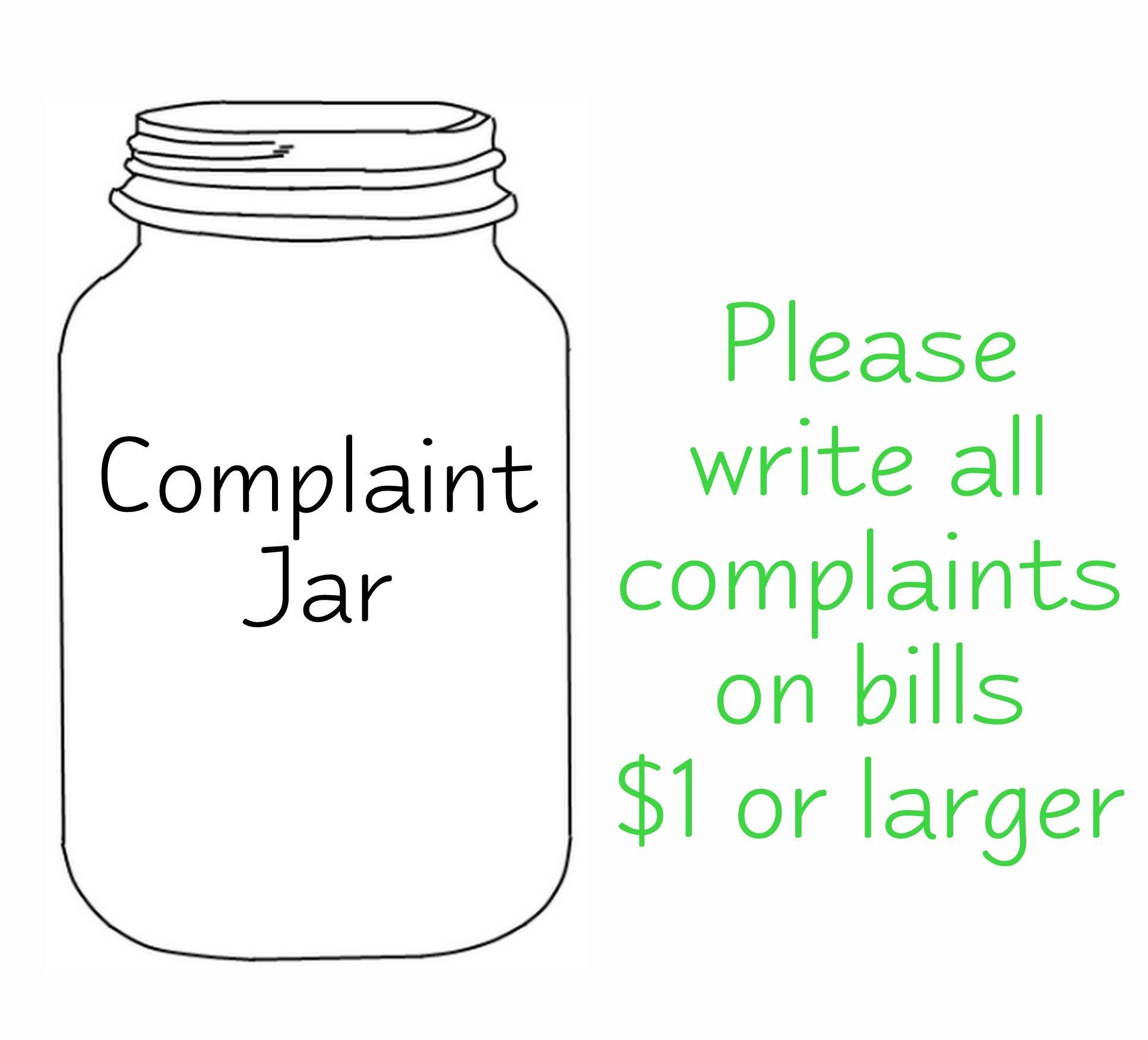 Use This Sign For Your Complaint Jar Mason Jar Printables Mason Jar Gifts Mason Jar Crafts