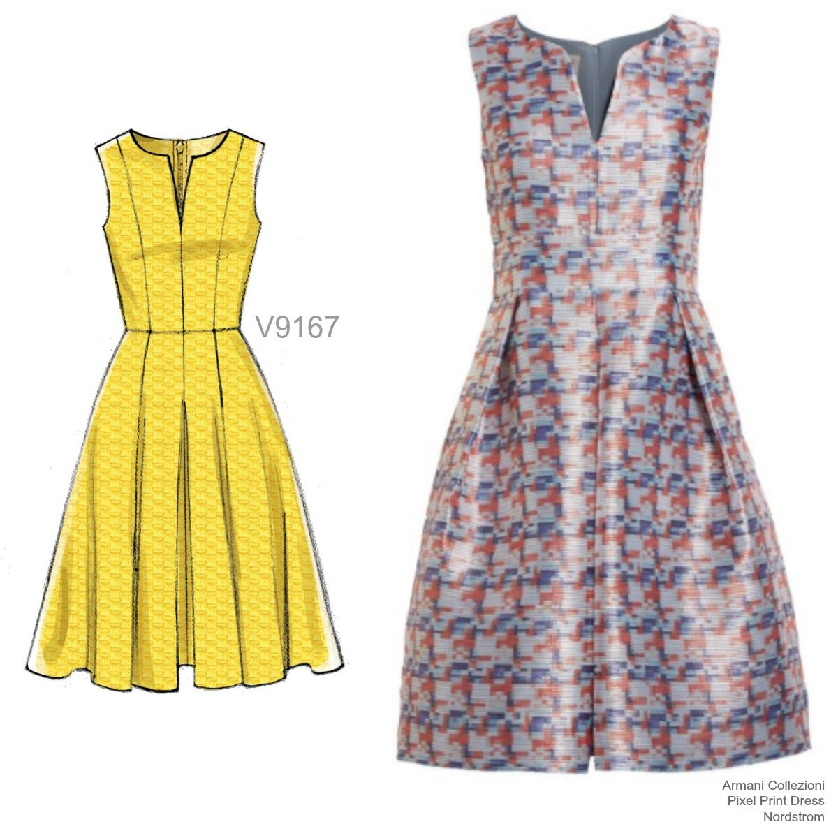 V9167 Flare Dress Pattern Dress Making Patterns Vogue Patterns [ 1200 x 1200 Pixel ]