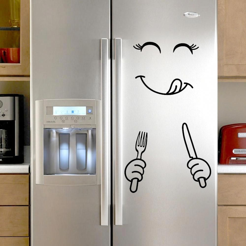 Funny Smiley Face Refrigerator Sticker Vinyl Wall Stickers for Fridge Kitchen