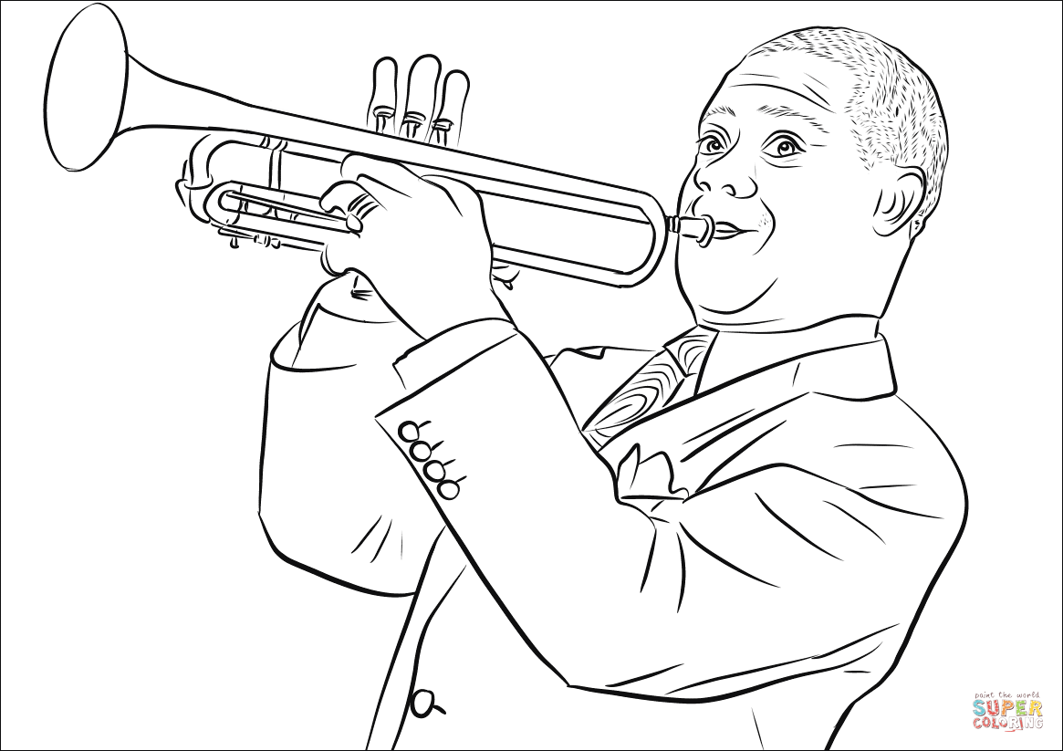 Image Result For Stevie Wonder Coloring Page Louis Armstrong Coloring Louis Armstrong Coloring Pages