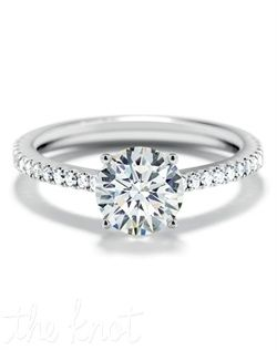 b3e3262a56d0e Forevermark Round Solitaire Ring with Pave Band S3_061 Engagement ...
