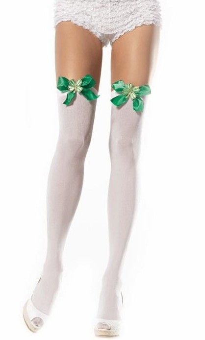 c9b407fa5a3ac FANCY DRESS ST PATRICKS DAY STOCKINGS - GREEN BOW TOPS AND LUCKY CLOVER  APPLIQUE - THIGH HIGH STOCKINGS FOR ST PATRICK - LEPRECHAUN STOCKINGS