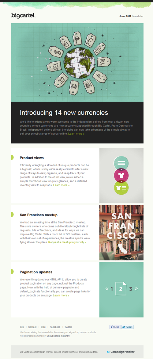Beautiful Email Newsletters » Blog Archive » Big Cartel | Design ...
