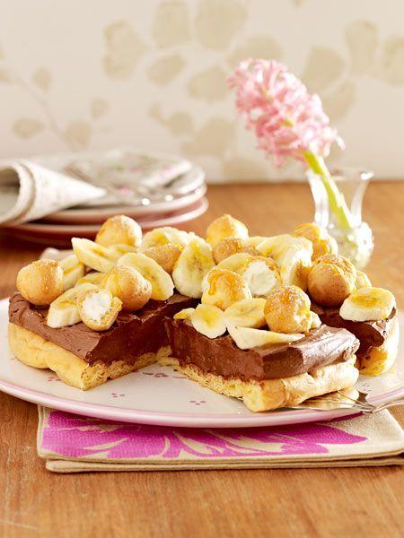 Brandteigtorte mit Schokocreme und Bananen  Recipe