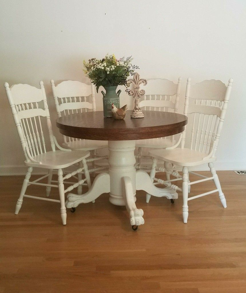 Lion Claw Foot Pedestal Table And Chairs Refinished To Save An Abused Vintage Table It Now Has A Conte Round Table And Chairs Dining Room Small Pedastal Table