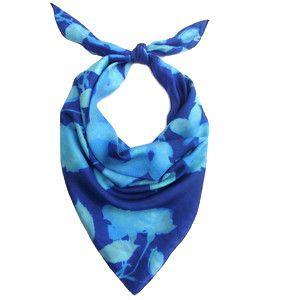 KathKath Studio - Blue Rose Silk Neck Scarf $113.00  WOLFANDBADGER.COM