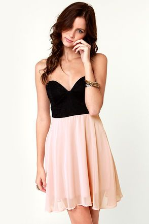 Ta Ra Ra Bustier Black And Blush Pink Dress Blush Pink