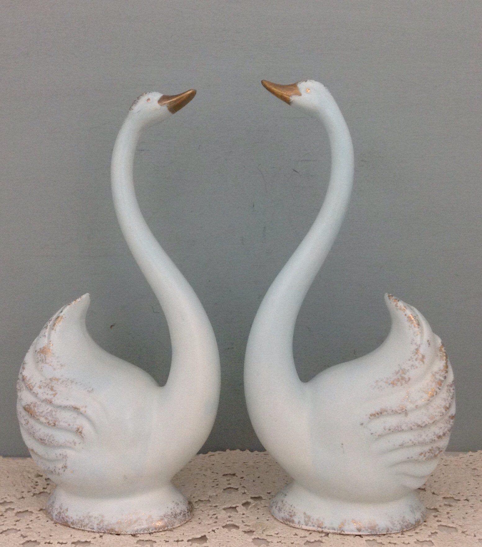 Vintage Pair Shade Pulls ~ Red Swans