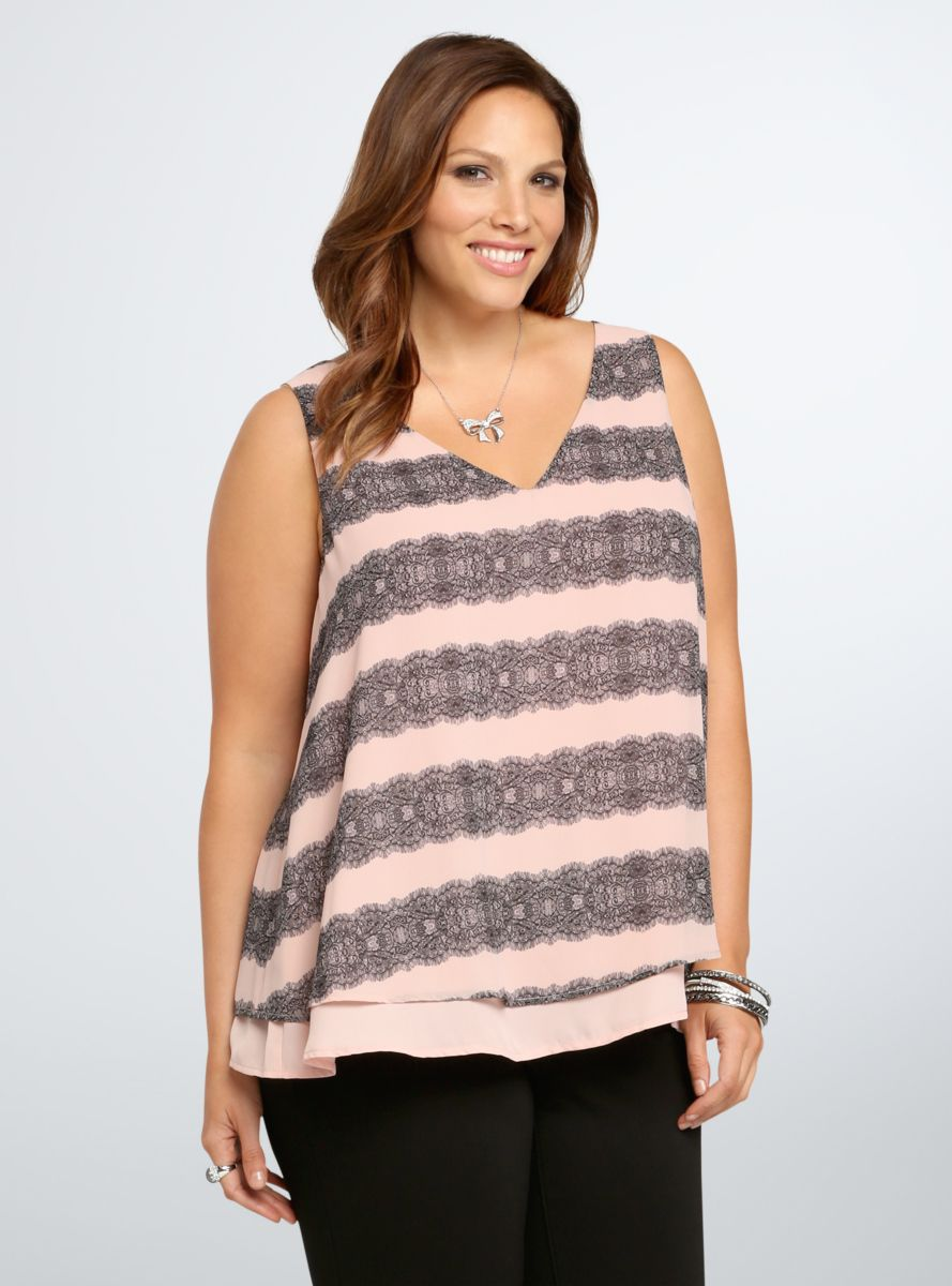 bc46e2a395c Lace Print Layered Tank Top