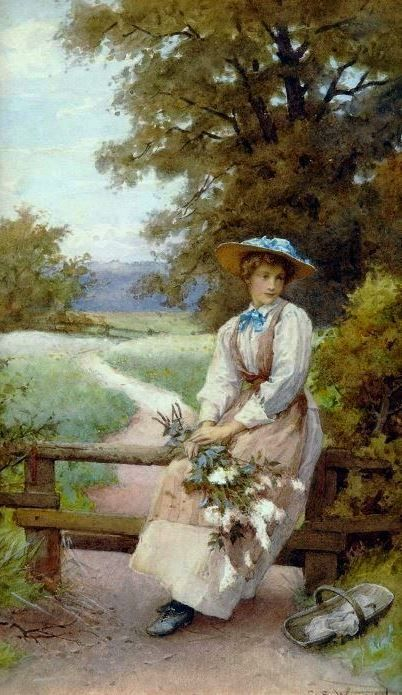 Wilson, Charles Edward (b,1854)- Lady w Picked Flowers, Waiting on Bench