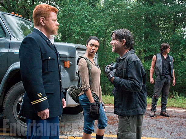 Beware the Saviors! Negan's group (led by Christopher Berry here) encounters Abraham (Michael Cudlitz), Sasha (Sonequa Martin-Green) and Daryl on the road. This meeting will set everything else in motion for the rest of the season. #TheWalkingDead