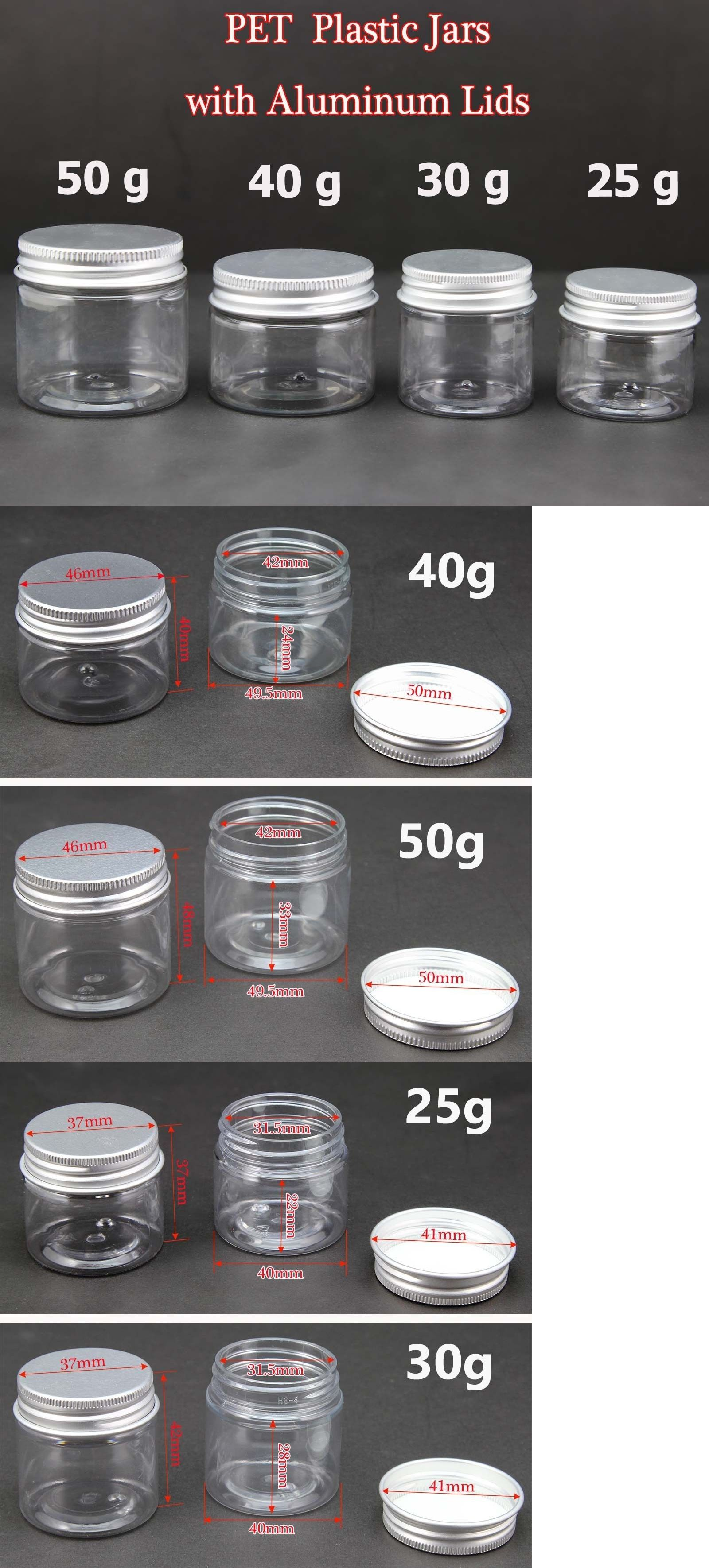 6cdef67297cd Jars and Holders 41368: Empty Pet Jars Aluminum Lids Clear Silver ...