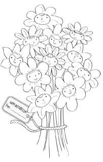 flowers colouring card  mothers day coloring pages mother's day colors mothers day crafts
