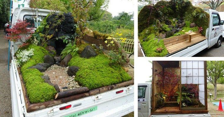 Mini jardin japonais  au Japon, on transforme les camionnettes en